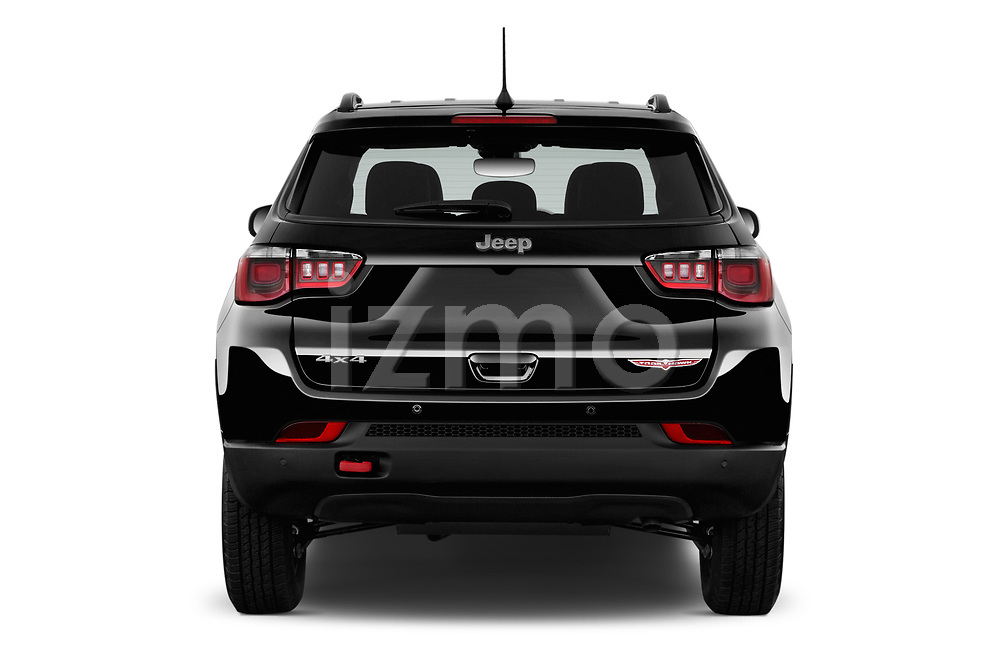 Straight rear view of a 2017 Jeep New Compass Trailhawk 5 Door SUV stock images