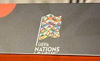 Logo der UEFA Nations League - 12.10.2018: Pressekonferenz der Deutschen Nationalmannschaft vor dem UEFA Nations League Spiel gegen die Niederlande