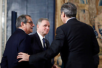 The Governor of Bank of Italy Ignazio Visco and Minister of Economy Giovanni Tria<br /> Rome December 19th 2018. Quirinale. Traditional exchange of Christmas wishes between the President of the Republic and the institutions.<br /> Foto Samantha Zucchi Insidefoto