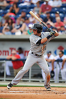 Biloxi Shuckers outfielder Kyle Wren (11) at bat during the second game of a double header against the Pensacola Blue Wahoos on April 26, 2015 at Pensacola Bayfront Stadium in Pensacola, Florida.  Pensacola defeated Biloxi 2-1.  (Mike Janes/Four Seam Images)