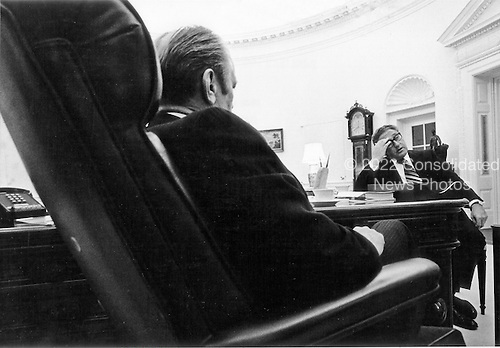 The Oval Office of the White House in Washington, D.C. is the scene of daily meetings for United States President Gerald R. Ford and United States Secretary of State Henry Kissinger who discuss foreign affairs problems.  This photo was taken on March 24, 1975.<br /> Mandatory Credit: David Hume Kennerly / White House via CNP