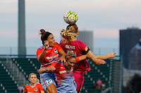 Rochester, NY - Saturday Aug. 27, 2016: Amber Brooks, Morgan Brian, Samantha Mewis during a regular season National Women's Soccer League (NWSL) match between the Western New York Flash and the Houston Dash at Rochester Rhinos Stadium.