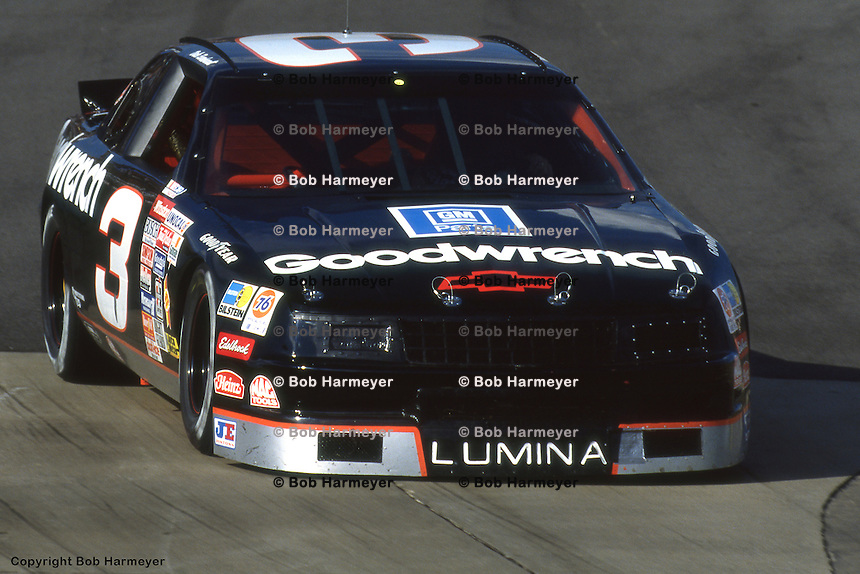 MARTINSVILLE, VA - APRIL 29: Dale Earnhardt drives his GM Goodwrench Chevrolet during practice for the Hanes Activewear 500 on April 29, 1990, at Martinsville Speedway near Martinsville, Virginia.