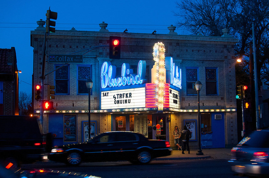 10/27/12 - 2012 Concert Venues. A general exterior view of the Bluebird Theater at 3317 East Colfax (corner of Colfax and Adams) in Denver, Colorado