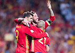 Alvaro Morata (L) of Spain celebrates after scoring his goal with Sergio Ramos (C) and David Silva (R) of Spain during their 2018 FIFA World Cup Russia Final Qualification Round 1 Group G match between Spain and Italy on 02 September 2017, at Santiago Bernabeu Stadium, in Madrid, Spain. Photo by Diego Gonzalez / Power Sport Images
