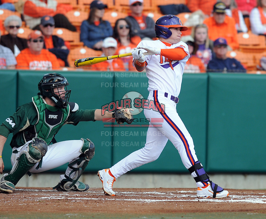 Center fielder Thomas Brittle (4) of the Clemson Tigers in a game against the William & Mary Tribe on Opening Day, Friday, February 15, 2013, at Doug Kingsmore Stadium in Clemson, South Carolina. Clemson won, 2-0. (Tom Priddy/Four Seam Images)