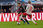 15.02.2020, Red Bull Arena, Leipzig, GER, 1.FBL, RB Leibzig vs SV Werder Bremen<br /> <br /> DFL REGULATIONS PROHIBIT ANY USE OF PHOTOGRAPHS AS IMAGE SEQUENCES AND/OR QUASI-VIDEO.<br /> <br /> im Bild / picture shows<br /> Johannes Eggestein (Werder Bremen #24)<br /> Emil Forsberg (RB Leipzig #10)<br /> <br /> Foto © nordphoto / Kokenge