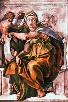 Renaissance Art: Michelangelo--The Delphic Sibyl. Sistine Chapel, Vatican  Reference only.