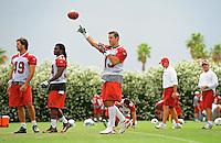 May 20, 2009; Tempe, AZ, USA; Arizona Cardinals quarterback Kurt Warner throws a pass during organized team activities at the Cardinals practice facility. Mandatory Credit: Mark J. Rebilas-
