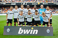 29th February 2020; Mestalla, Valencia, Spain; La Liga Football,Valencia versus Real Betis; Valencia CF squad lines up prior to the game