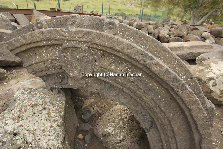 Golan Heights, Ruins of the ancient Synagogue at Umm el Kanatir that was destroyed by the earthquake of 749 C.E