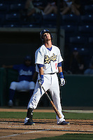 Brandon Trinkwon (16) of the Rancho Cucamonga Quakes reacts to being called out on strikes during a game against the Bakersfield Blaze at LoanMart Field on June 1, 2015 in Rancho Cucamonga, California. Rancho Cucamonga defeated Bakersfield, 5-2. (Larry Goren/Four Seam Images)