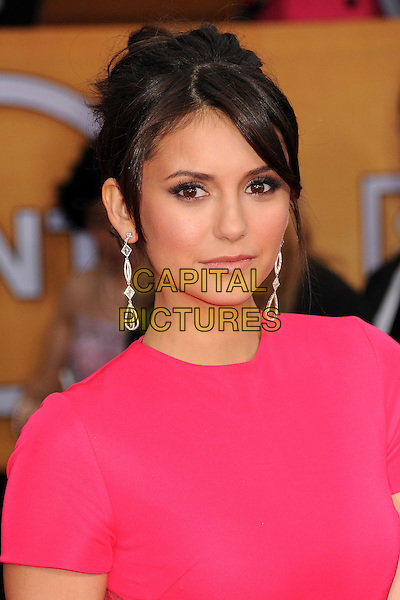 Nina Dobrev.Arrivals at the 19th Annual Screen Actors Guild Awards at the Shrine Auditorium in Los Angeles, California, USA..27th January 2013.SAG SAGs headshot portrait dangling earrings pink .CAP/ADM/BP.©Byron Purvis/AdMedia/Capital Pictures