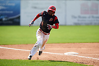 Batavia Muckdogs shortstop Marcos Rivera (8) rounds third during a game against the Tri-City ValleyCats on July 16, 2017 at Dwyer Stadium in Batavia, New York.  Tri-City defeated Batavia 13-8.  (Mike Janes/Four Seam Images)