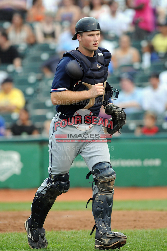 Connecticut Tigers catcher Bennett Pickar (14) during game against the Brooklyn Cyclones at MCU Park on August 03, 2012 in Brooklyn, NY.  Brooklyn defeated Connecticut 3-0.  Tomasso DeRosa/Four Seam Images