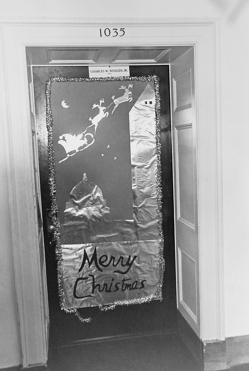 Rep. Charles W. Whalen, R-Ohio, decorated office door around Christmas. (Photo by Dev O'Neill/CQ Roll Call via Getty Images)