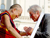 Washington, DC - October 17, 2007 -- The 14th Dalai Lama, Tenzin Gyatso, blesses actor and activist Richard Gere after making a speech on the West Lawn of the United States Capitol in Washington, D.C. on Wednesday, October 17, 2007.  Earlier, inside the Rotunda of The Capitol the Dalai Lama accepted the Congressional Gold Medal, the nation's highest and most distinguished civilian award..Credit: Ron Sachs/CNP