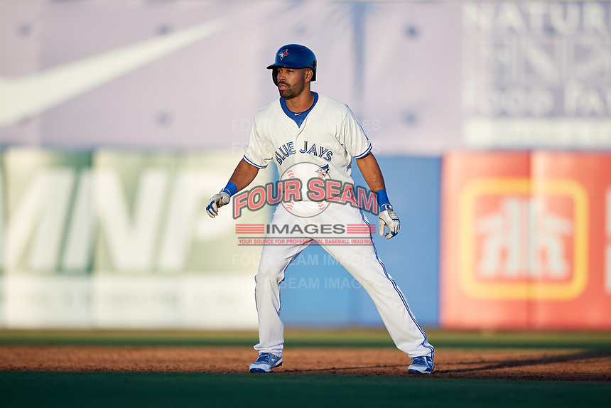Dunedin Blue Jays left fielder Dalton Pompey leads off second base during a game against the Fort Myers Miracle on April 17, 2018 at Dunedin Stadium in Dunedin, Florida.  Dunedin defeated Fort Myers 5-2.  (Mike Janes/Four Seam Images)