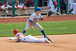 29 April 2017: New York Mets infielder T.J. Rivera takes a pick-off attempt at first during a game against the Washington Nationals at Nationals Park in Washington, DC. The Mets defeated the Nationals 5-3 to take the second game of their 3-game weekend series. Mandatory Credit: Ed Wolfstein Photo *** RAW (NEF) Image File Available ***