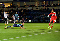 Michael Harriman of Wycombe Wanderers dives but cannot reach the cross during the Carabao Cup match between Wycombe Wanderers and Fulham at Adams Park, High Wycombe, England on 8 August 2017. Photo by Alan  Stanford / PRiME Media Images.