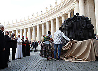 "Pope Francis attends the unveiling of a sculpture called ""Angels Unaware"" by Canadian sculptor Timothy P. Schmalz, depicting a group of 140 migrants of various cultures and from different historic times, following a mass for World Day of Migrants and Refugees at St. Peter's Square at the Vatican on September 29, 2019 <br /> UPDATE IMAGES PRESS/Isabella Bonotto<br /> <br /> STRICTLY ONLY FOR EDITORIAL USE"