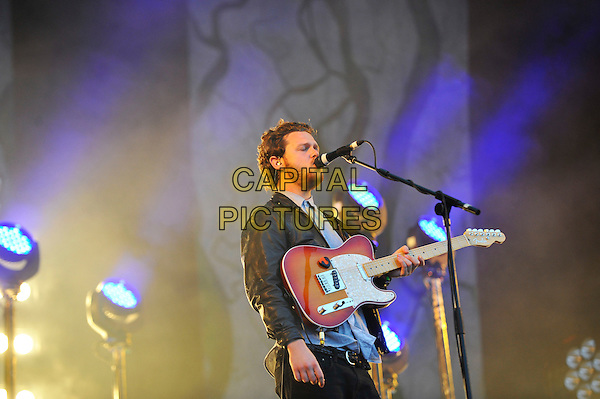 Joe Newman of Alt-J <br /> Performing at Glastonbury Festival, Worthy Farm, Pilton, Somerset, <br /> England, UK, 28th June 2013.<br /> half length microphone singing guitar live on stage concert gig <br /> CAP/MAR<br /> &copy; Martin Harris/Capital Pictures