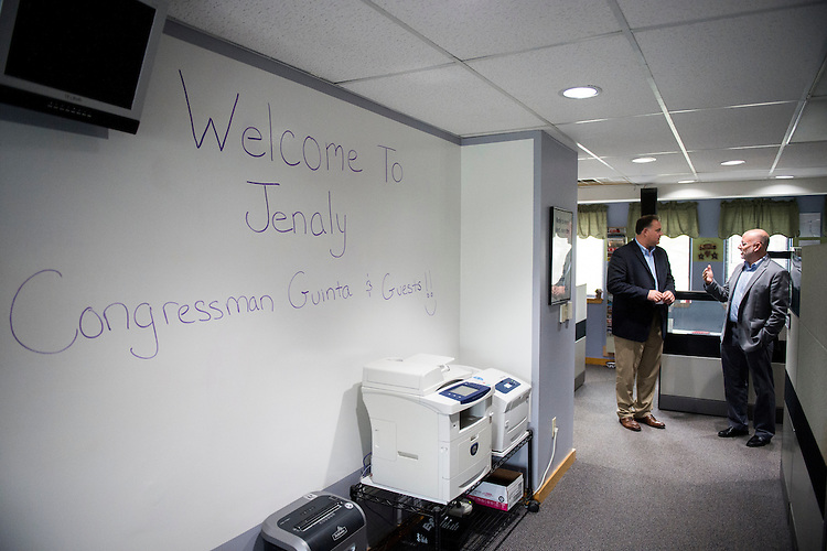 UNITED STATES - AUGUST 25: Rep. Frank Guinta, R-N.H., left, speaks with MJ Shoer, President & Virtual Chief Technology Officer of Jenaly Technolgy Group, as he arrives for a business roundtable discussion on cyber security at Jenaly in Portsmouth, N.H., on Tuesday, Aug. 25, 2015. (Photo By Bill Clark/CQ Roll Call)