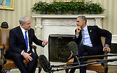 United States President Barack Obama meets with Prime Minister Benjamin Netanyahu of Israel in the Oval Office of the White House November 9, 2015 in Washington, DC. This is President Obama and Israeli Prime Minister Netanyahu first meeting since relations deteriorated over a nuclear deal between world powers and Iran. <br /> Credit: Olivier Douliery / Pool via CNP