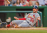28 May 2016: St. Louis Cardinals infielder Greg Garcia slides home safely to score the Cardinal's third run of the game in the second inning against the Washington Nationals at Nationals Park in Washington, DC. The Cardinals defeated the Nationals 9-4 to take a 2-games to 1 lead in their 4-game series. Mandatory Credit: Ed Wolfstein Photo *** RAW (NEF) Image File Available ***