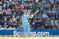 Joe Root (England) pulls a short delivery to the mid wicket boundary for four during England vs West Indies, ICC World Cup Cricket at the Hampshire Bowl on 14th June 2019
