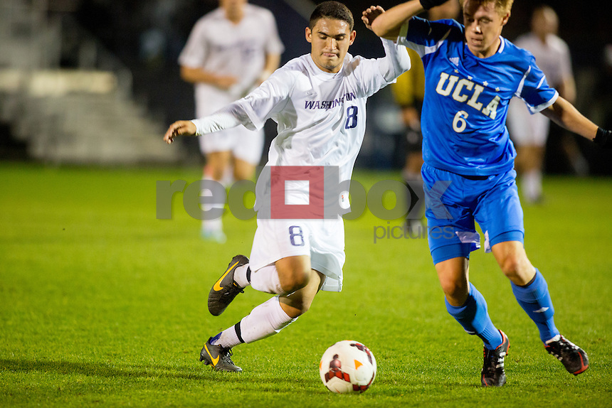 The University of Washington men's soccer team played UCLA to a 2-2 at the UW Soccer Stadium on Monday October 21, 2013. (Photo by Scott Eklund/Red Box Pictures)