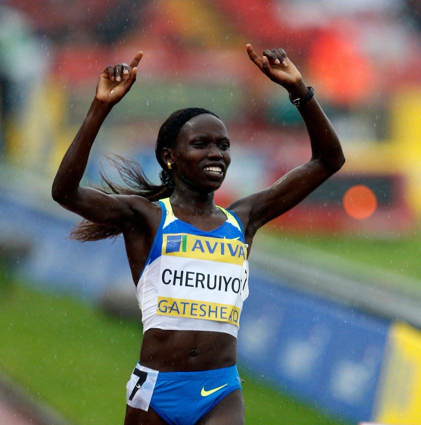 Photo: Richard Lane/Richard Lane Photography. Aviva British Grand Prix, Gateshead. 31/08/2008. Kenya's Vivian Cheruiyot celebrates victory in the women's 3000m.