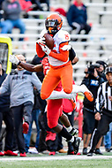 College Park, MD - OCT 27, 2018: Illinois Fighting Illini wide receiver Trenard Davis (15) goes up to catch a pass over a Terps defender during game between Maryland and Illinois at Capital One Field at Maryland Stadium in College Park, MD. The Terrapins defeated Illinois to move to 5-3 on the season. (Photo by Phil Peters/Media Images International)