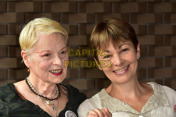 LONDON, ENGLAND - JULY 02: Vivienne Westwood, Caroline Lucas attend the Artists Against TTIP Photocall at the Young Vic Theatre on July 2, 2015 in London, England&hellip;<br /> CAP/JOR<br /> &copy;JOR/Capital Pictures