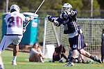 Los Angeles, CA 03/12/16 - Brendan Sarnecky (Utah State #88) and Giovanny Escobar (Loyola Marymount #30) in action during the Utah State vs Loyola Marymount MCLA Men's Division I game at Leavey Field at LMU.  Utah State defeated LMU 17-4.