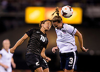 Christie Rampone (3) of the USWNT goes up for a header with Sarah Gregorious (10) of New Zealand during an international friendly at Crew Stadium in Columbus, OH. The USWNT tied New Zealand, 1-1.