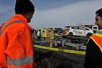 February 21,2012 - Laval (Quebec) CANADA  - Firemen on a car crash scene