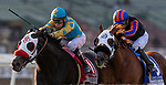JAN 04: Desert Stone with Giovanni Franco overtakes Cleopatra Strike and Abel Cedillo to win the San Gabriel Stakes at Santa Anita Park in Arcadia, California on January 01, 2020. Evers/Eclipse Sportswire/CSM