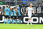 11.08.2019, Carl-Benz-Stadion, Mannheim, GER, DFB Pokal, 1. Runde, SV Waldhof Mannheim vs. Eintracht Frankfurt, <br /> <br /> DFL REGULATIONS PROHIBIT ANY USE OF PHOTOGRAPHS AS IMAGE SEQUENCES AND/OR QUASI-VIDEO.<br /> <br /> im Bild: Jubel ueber das Tor zum 3:2 durch Jan Hendrik Marx (SV Waldhof Mannheim #26)<br /> <br /> Foto © nordphoto / Fabisch
