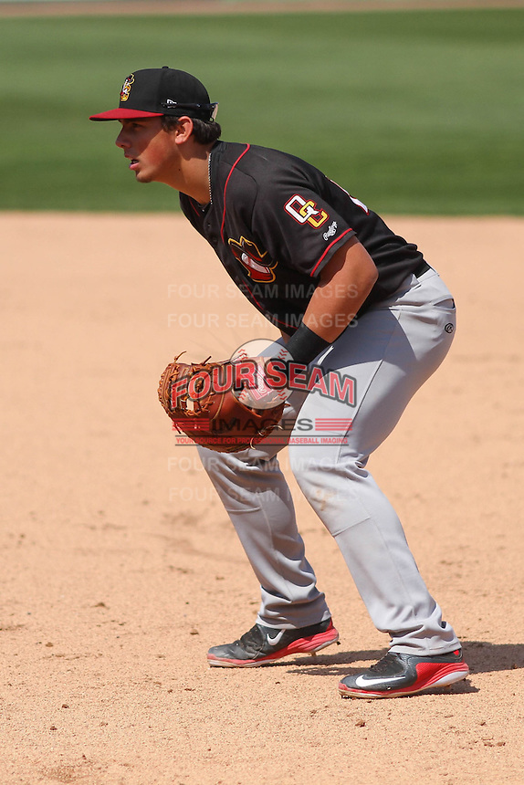 Quad Cities River Bandits first baseman Jacob Nottingham (27) during a game against the Wisconsin Timber Rattlers on May 2nd, 2015 at Fox Cities Stadium in Appleton, Wisconsin.  Quad Cities defeated Wisconsin 5-2.  (Brad Krause/Four Seam Images)
