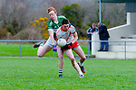 Roibert Ó Sé An Gealteacht and Gary O'Sullivan Listry contest for the kick out in midfield during their league clash in Listry on Sunday