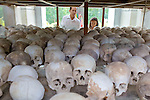 Viewing Skulls, Choeung Ek Buddist Memorial Stupa