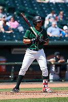Great Lakes Loons Romer Cuadrado (5) at bat during a Midwest League game against the Wisconsin Timber Rattlers at Dow Diamond on May 4, 2019 in Midland, Michigan. Great Lakes defeated Wisconsin 5-1. (Zachary Lucy/Four Seam Images)