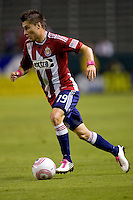 Chivas USA midfielder Jorge Flores moves with the ball. Chivas USA defeated Toronto FC 3-0 at Home Depot Center stadium in Carson, California on Saturday October 9, 2010.