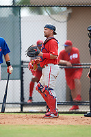 Philadelphia Phillies catcher Colby Fitch (22) during an Instructional League game against the Toronto Blue Jays on September 30, 2017 at the Carpenter Complex in Clearwater, Florida.  (Mike Janes/Four Seam Images)