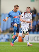 6th June 2014; UCD's Ian Ryan and Stephen Walsh of Galway FC. FAI Ford Cup - Round 2, UCD v Galway FC, UCD Bowl, Belfield, Dublin. Picture credit: Tommy Grealy/actionshots.ie.