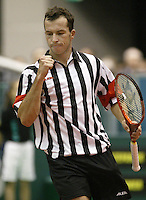 22-2-06, Netherlands, tennis, Rotterdam, ABNAMROWTT, Stepanek beats Lammer and makes a fist