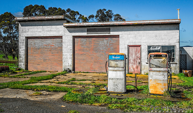 An abandoned service station in Winnaleah in Tasmania, Australia