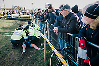 Alicia Franck (BEL/Lares-Doltcini) getting mediacal assistance after crashing into the barriers<br /> <br /> Superprestige Ruddervoorde 2018 (BEL)
