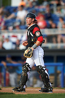 Batavia Muckdogs catcher David Gauntt (46) during a game against the State College Spikes on June 22, 2016 at Dwyer Stadium in Batavia, New York.  State College defeated Batavia 11-1.  (Mike Janes/Four Seam Images)